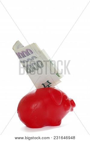 Red Piggy Bank Finance Theme Objects Isolated
