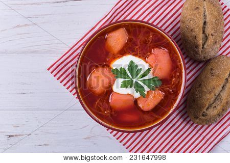 Borsh Ukrainian Traditional Dish With Sour On Wooden Background