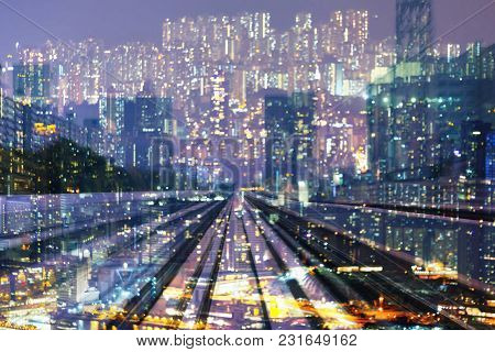 City Night Blurred Bokeh Light Double Exposure Over Motion Moving Train, Abstract Background