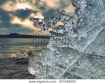 Turquoise Frost Floe, Closeup Of Frozen Winter Lake.  Shiny Icy Detail.  Frost Patterns, Extreme Win
