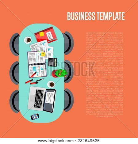 Business Template. Top View Of Conference Room, Vector Illustration. Oval Table And Six Chairs Aroun