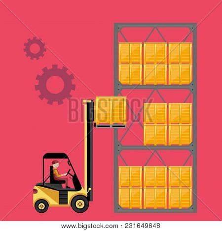 Forklift Truck With Boxes On Pallet Isolated Vector Illustration. Warehouse Process Concept.
