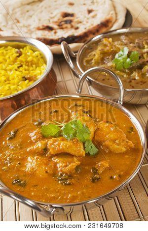 Methi Chicken Or Butter Chicken With Lamb Dhansak, Naan Bread.