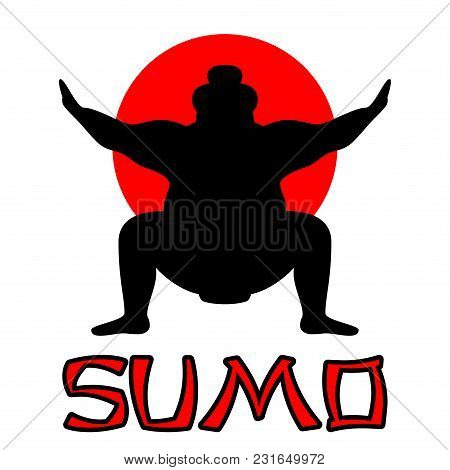 Silhouette Of Wrestler Sumo Against The Background Of The Japanese Flag With The Inscription Sumo