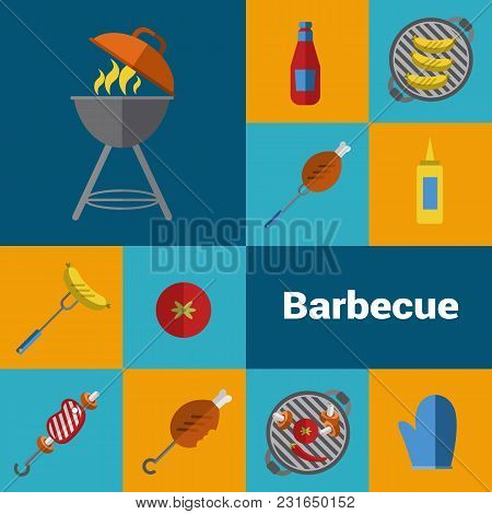 Bbq Vector Illustration. Barbecue Grill Icons Set, Charcoal Kettle Grill With Fire, Skewers, Ketchup