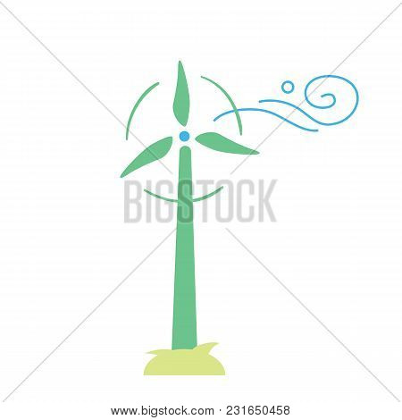 Wind Turbine Icon. Vector Illustration Of Windmills For Electric Power Production. Eco Generation. R