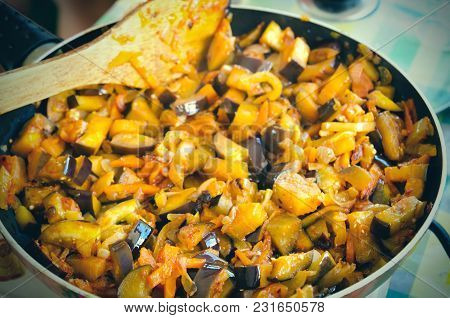 Frying Pan With A Lot Of Vegetables