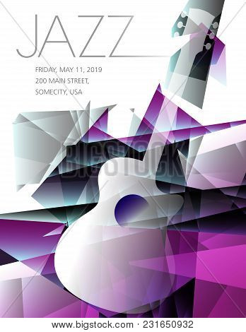 Jazz Festival Music Background With A Generic Guitar And Space For Type For Print Or Web Use