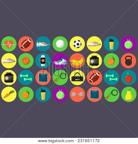 Sports And Nutrition Vector Illustration Icons. Athletic Equipment, Shaker, Jump Rope, Nutrition Sup