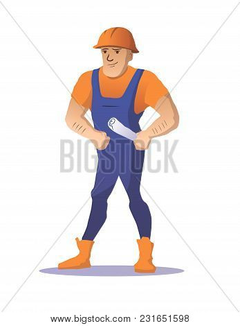 Worker. Strong Builder With Drawings. Vector Illustration