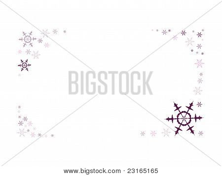 Frame formed by snow flakes