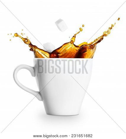Cup Of Spilling Coffee With Sugar Isolated On White Background. Coffee Splash