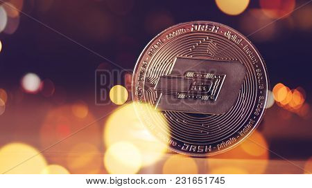 Dash Cryptocurrency, Blockchain Technology Decentralized Currency Coin, Conceptual Image With Select