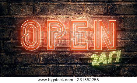 Open 24-7 Neon Sign On Brick Wall, 3d Rendering Illustration