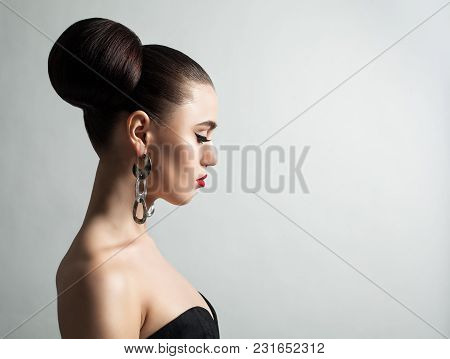 Young Woman With Wedding Hairstyle, Profile Portrait