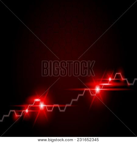 Abstract Financial Chart With Uptrend Line Graph In Stock Market On Gradient Red Color Background. F