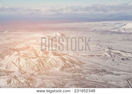 Aerial View From Air, Iceland Mountain In Winter Season, Natural Landscape