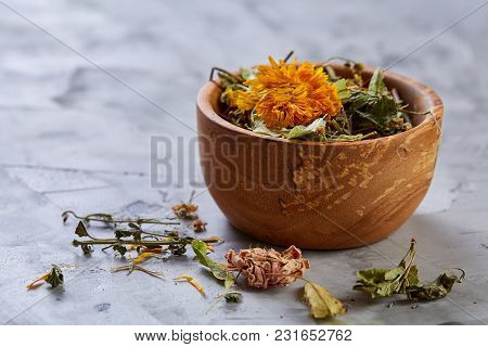 Spa Still Life With Flowers In Wooden Bowl On Light Textured Background, Top View, Close-up, Selecti