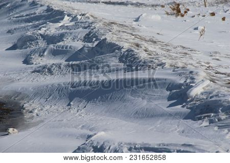Snow Dunes In The Field / Shadows In The Snow / Windy Winter Day In The Field /