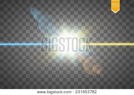 Vector Illustration. Collision Of Two Forces Of Blue And Gold Magical Plasma. Allocation Of Cold And
