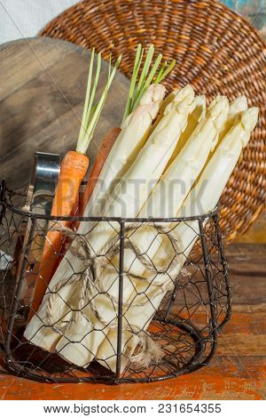 Bunch Of Raw Uncooked Fresh White Asparagus High Quality New Harvest, Ready To Cook For Dinner Close