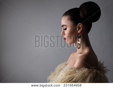 Beautiful Brunette Woman On Gray Banner Background