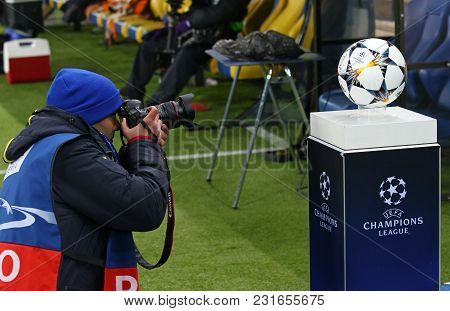 Kharkiv, Ukraine - February 21, 2018: Photographer Makes A Photo Of The Official Match Ball Of Uefa
