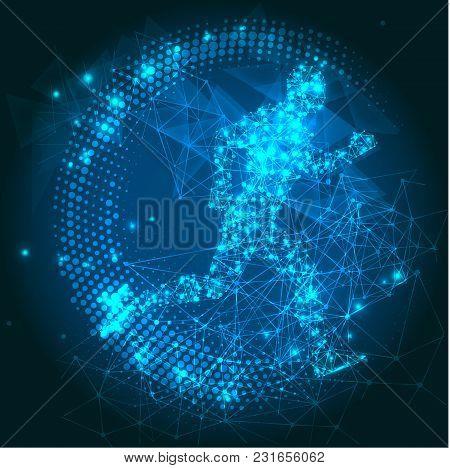 Futuristic Abstract 3d Big Data Visualization. Running Man. Futuristic Infographics Aesthetic Design