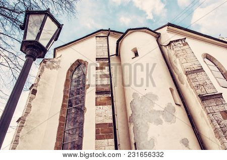 Basilica Of The Holy Cross With Exterior Lantern In Kezmarok City, Slovak Republic. Religious Archit