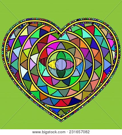 Abstract Colored Image Of Heart Consisting Of Lines And Figures