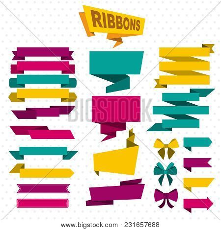 Colorful Design Elements Flat Set With Paper Blank Ribbons Banners Arrows Bow Ties On Dotted Backgro