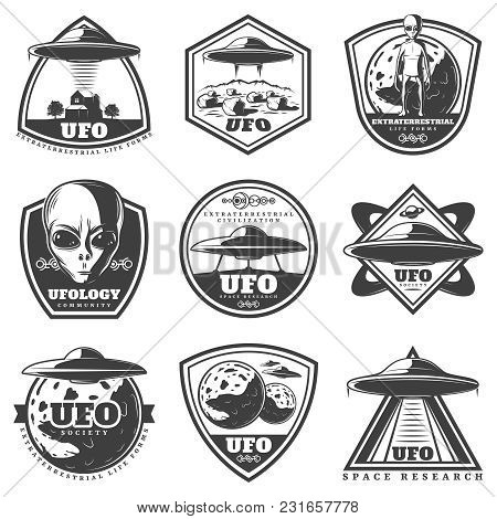 Vintage Monochrome Ufo Labels Set With Alien Spaceships Unknown Planets Extraterrestrial Life Forms