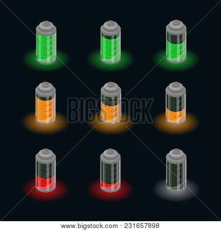 Isometric Battery Charge Status Set With Different Level Indicators Of Charging On Black Background