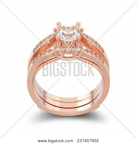 3d Illustration Isolated Rose Gold Two Shanks Decorative Diamond Ring With Shadow On A White Backgro