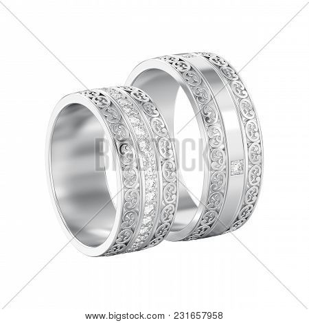 3d Illustration Isolated Two White Gold Or Silver Decorative Wedding Bands Carved Out Rings With Orn