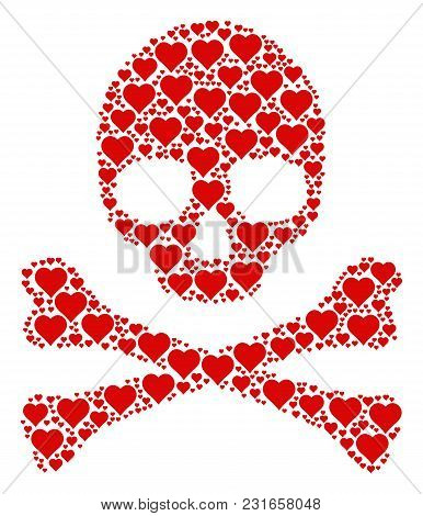 Death Collage Made Of Valentine Heart Icons. Vector Valentine Heart Items Are Combined Into Geometri