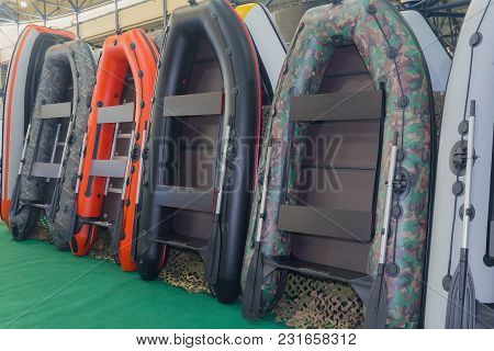 Inflatable Boats In The Store. Sports Equipment