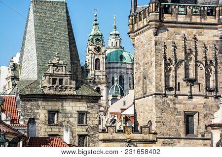 Lesser Town Bridge Tower And St. Nicholas Church, Prague, Czech Republic. Travel Destination. Archit