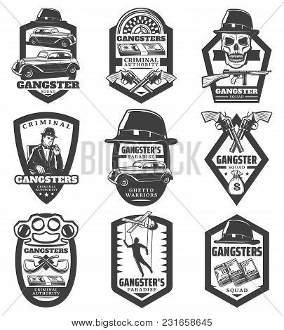 Vintage Mafia Emblems Set With Gangster Classic Cars Revolvers Gun Hat Skull Money Puppet Roulette S