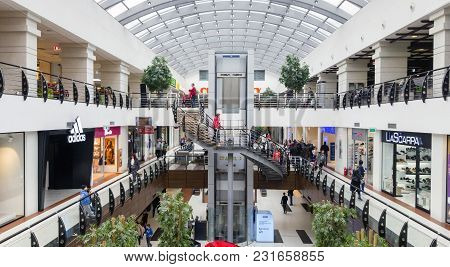 Bacau, Romania - March 17:  Retail Shopping Mall With Fashion Stores And Restaurants.  Arena Mall Ba