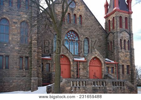 Landmark Romanesque Style Church Entrance And Facade In East Phillips Neighborhood Of Minneapolis Mi