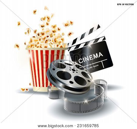 Cinematograph, Popcorn For Movie Theater And Online Cinema, Reel With Film, Online Cinema, Cinema Co