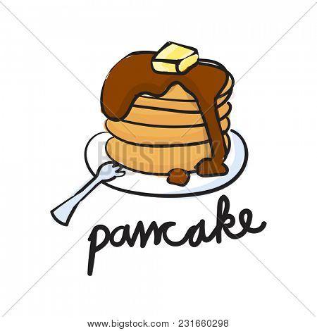 Illustration drawing style of pancake