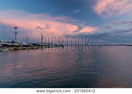 Colorful Seascape At Burgas Bay, Bulgaria. Black Sea Sunset.