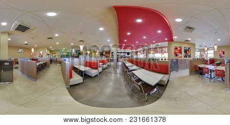Minsk, Belarus - May 26, 2017: Panorama 360 Angle View In Interior In Modern Elite Fast Food Cafe Bu