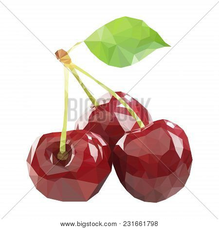Polygonal Cherry In Vector, Low Poly Style Cherry. Three Cherries