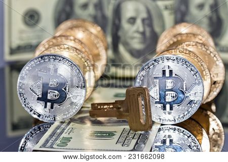 Concept : Money Investing In Cryptocurrencies Protected