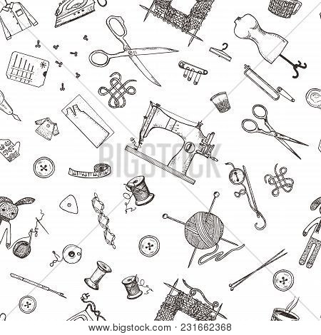 Seamless Pattern Of Sewing Tools And Materials Or Tools For Knitting Or Crochet For Needlework. Hand