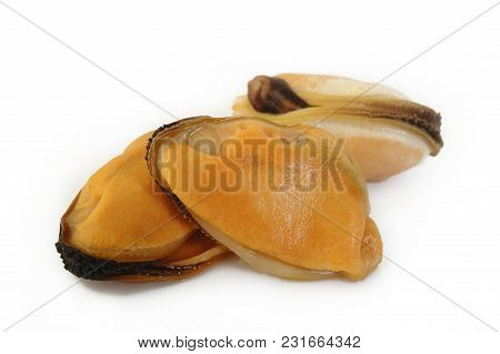 Peeled Mussel Seafood At On White Background