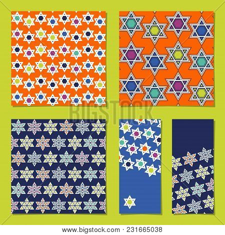 Set Of Universal Cards With Star Of David. Template. Vector Illustration